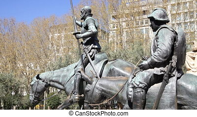 Don Quixote and Sancho Panza Statue, in madrid spain
