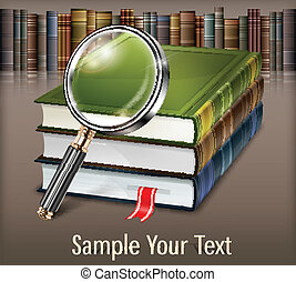 Books and magnifying glass on table