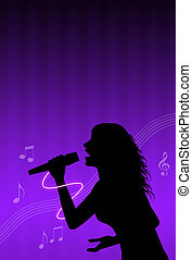 karaoke singer with musical notes