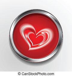 Abstract vector button with love symbol