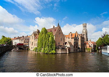 Bruges city in Belgium - Canal in Bruges with the famous...
