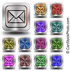 Aluminum E-mail glossy icons, crazy colors - Aluminum,...