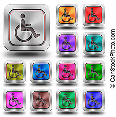 Accessibility aluminum glossy icons, crazy colors -...