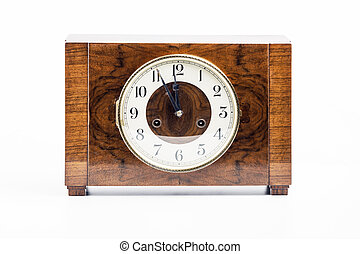 Historic wood clock - Picture of a historic wood clock on...