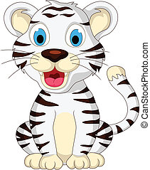 cute baby white tiger sitting - vector illustration of cute...