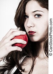 Red Delicious Apple - Beautiful woman eating a whole red...