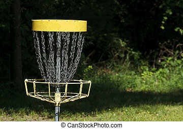 Disc Golf Goal Target In The Woods - A single disc golf...