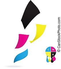 Flying paper CMYK color design