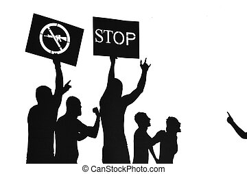 Stop using weapons - silhouette illustration - Peace protest...