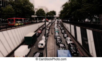 traffic building up at underpass in central london