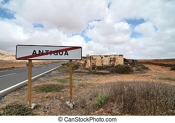 Old ancient cartel antigua in the desert on a cloudy sky