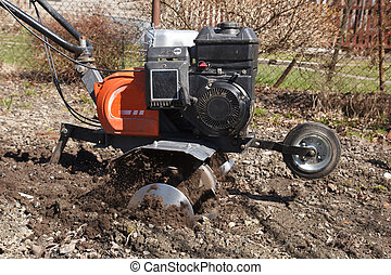 rototiller in the garden