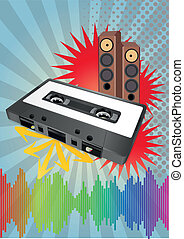tape cassette - illustration of tape cassette with...