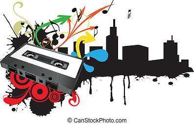 tape cassette skyline - illustration of tape cassette with...