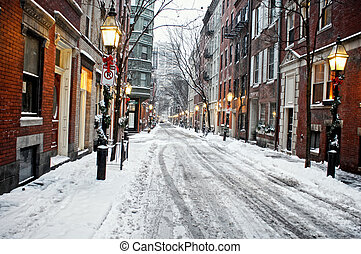 snowy afternoon in bostons beacon hill