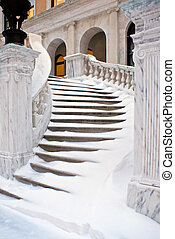 winding stairs - winding outdoor marble staircase covered in...