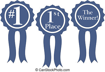 blue ribbon awards vector - three blue ribbon awards, 1, 1st...