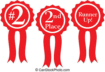 red ribbon awards vector - three red ribbon awards, #2, 2nd...