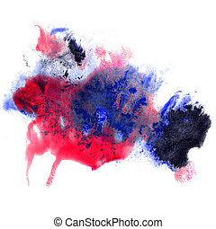 paint blue, red stroke splatters color watercolor abstract...