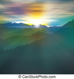 abstract background with mountains and sunrise - abstract...