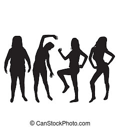 Isolated woman silhouettes