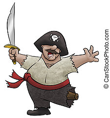 Victorious Pirate - A cartoon pirate dances for joy.