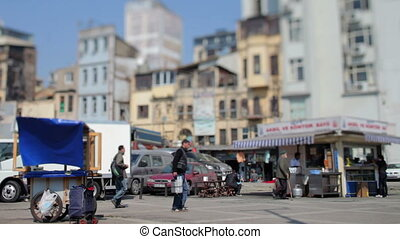 fish market scene, istanbul, turkey, with a tilt and shift...