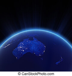 Australia and New Zeland city lights at night. Elements of...
