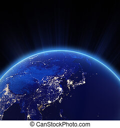 West Asia - China, Japan, Corea city lights at night....