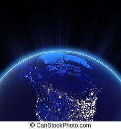 Canadá, norte, EUA, cidade, luzes, noturna