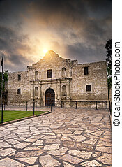 Sunrise Over the Alamo - Ominous sky hovering over the...
