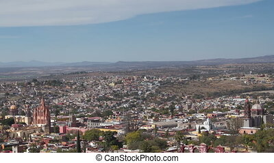 the skyline of the historic city of san miguel de allende,...