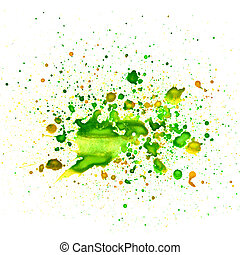 macro texture of green blob of paint on a white background