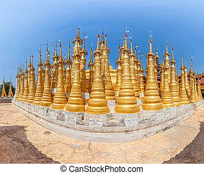Indein, Inle Lake - Renovated Ancient Stupas at Indein, Inle...
