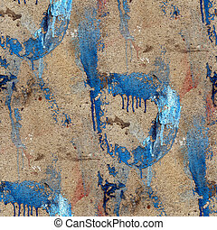 old concrete wall with streaks of blue paint seamless...