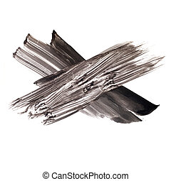 paint brush cross watercolor black texture isolated on white background