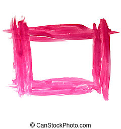 paint brush frame square pink red watercolor texture...