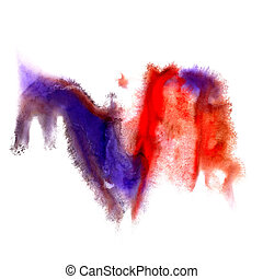 red blue blob watercolor brush strokes isolated on a white background