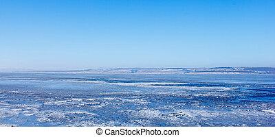 River Volga winter ice landscape Russia - Russia River Volga...
