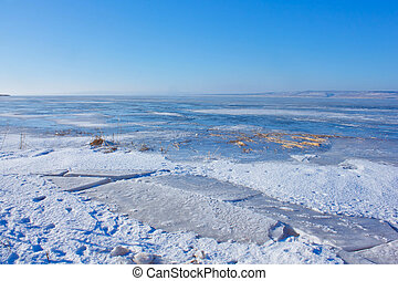 Russia Volga River Winter ice and cracks - Russia Volga...