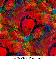 seamless painting watercolor with bright red orange yellow...