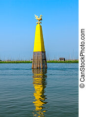 Inle lake - Waterway marker at Inle lake, Myanmar