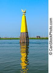 Inle lake - Waterway marker at Inle lake, Myanmar.