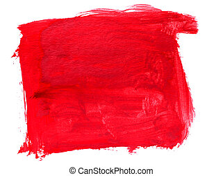 spot art watercolor red, square pointer texture isolated on a white background