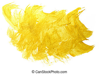 spot art watercolor yellow texture isolated on a white...