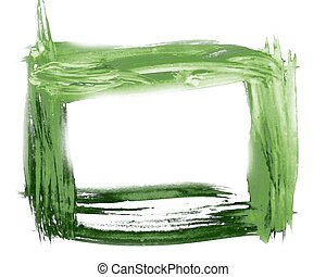 spot Green frame art watercolor pointer texture isolated on a white background