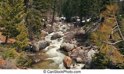 beautiful waterfall in sequoia national park, california,...
