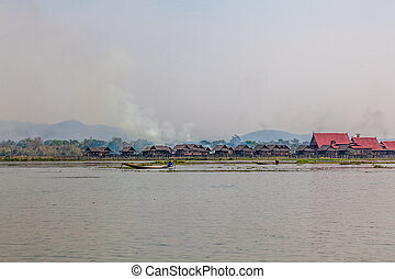 Inle lake - Panorama of the small Floating village at Inle...