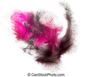 watercolor splash ink black red pink macro watercolour...