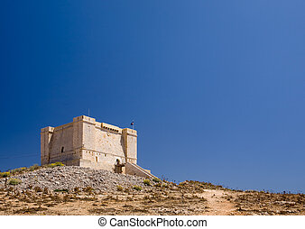 Fortess on Hill - St marija tower on comino island, Malta